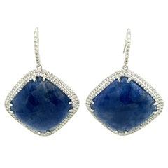 52.55 Carat GRS Certified Unheated Burmese Blue Sapphire and Diamond Earrings