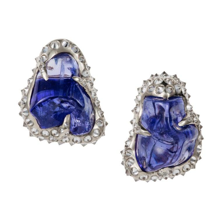 52.580 carats Tanzanite Tumble Diamond 18K White Gold Clip On Earrings For Sale