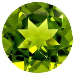 5.26 Carat Apple Green Peridot Round, Unset Loose Pendant, 3-Stone Ring Gemstone