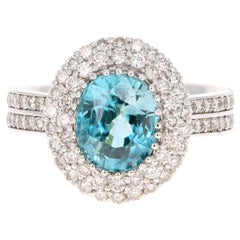 5.26 Carat Blue Zircon Diamond 14 Karat White Gold Ring