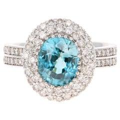 5.26 Carat Blue Zircon Diamond 14 Karat White Gold Ring
