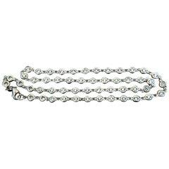5.26 Carat Diamonds by Yard Station Flush Necklace F/VS 51 Pieces 14 Karat