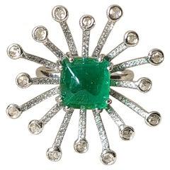 5.26 Carat Natural Emerald Cabochon Ring Set in 18 Karat Gold with Diamonds