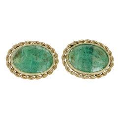 5.26 Carat Oval Cabochon Cut Emerald Cufflinks, 18 Karat Yellow Gold Chain Link
