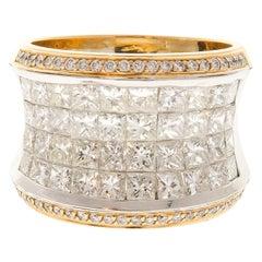 5.26 Carat Total Princess Cut Diamond Cocktail Ring in 18 Karat Gold