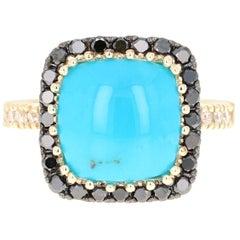 5.26 Carat Turquoise Black Diamond 14 Karat Yellow Gold Ring