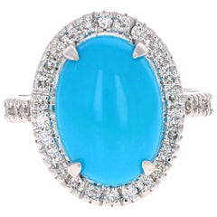 5.26 Carat Turquoise Diamond White Gold Cocktail Ring