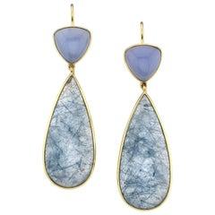 52.66 ct. t.w. Actinolite Pear, Chalcedony Cabochon 18k Gold Bezel Drop Earrings