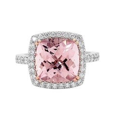 5.27 Carat Cushion Cut Morganite 0.37 Carat Diamonds Halo Cocktail Ring