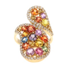 5.27 Carat Multi Sapphire Diamond 14 Karat Yellow Gold Cluster Ring