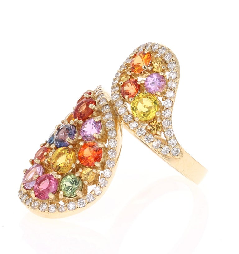 Modern 5.27 Carat Multicolored Sapphire Diamond 14 Karat Yellow Gold Cocktail Ring For Sale