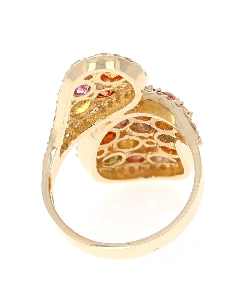 Round Cut 5.27 Carat Multicolored Sapphire Diamond 14 Karat Yellow Gold Cocktail Ring For Sale