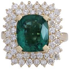 5.27 Carat Natural Emerald 18 Karat Yellow Gold Diamond Ring