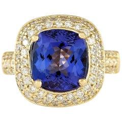 5.27 Carat Natural Tanzanite 18 Karat Yellow Gold Diamond Ring