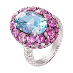 5.27 Carat Oval Aquamarine Pink Sapphire Diamond 18 Karat Gold Cocktail Ring
