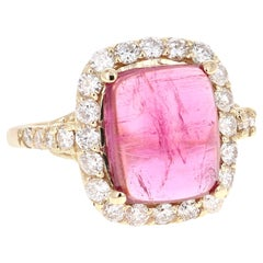 5.27 Carat Pink Tourmaline Diamond 14 Karat Yellow Gold Cocktail Ring
