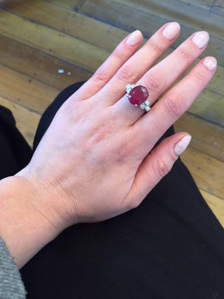 5.27 Carat Ruby Diamond 18 Carat White Gold Dress Ring For Sale at ...