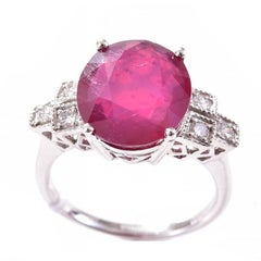 5.27 Carat Ruby Diamond 18 Carat White Gold Dress Ring