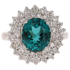 5.28 Carat Apatite Diamond 14 Karat White Gold Cocktail Ring
