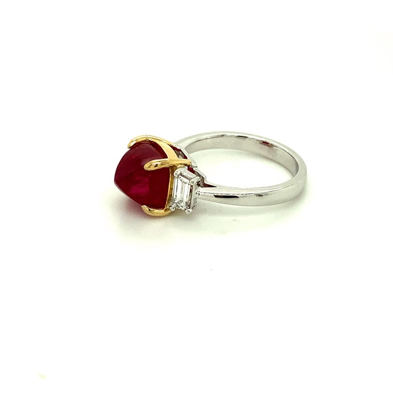 Contemporary 5.28 Carat Burmese Red Spinel Sugarloaf and White Diamond Gold Engagement Ring For Sale