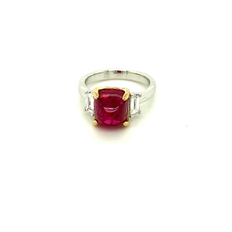 Sugarloaf Cabochon 5.28 Carat Burmese Red Spinel Sugarloaf and White Diamond Gold Engagement Ring For Sale