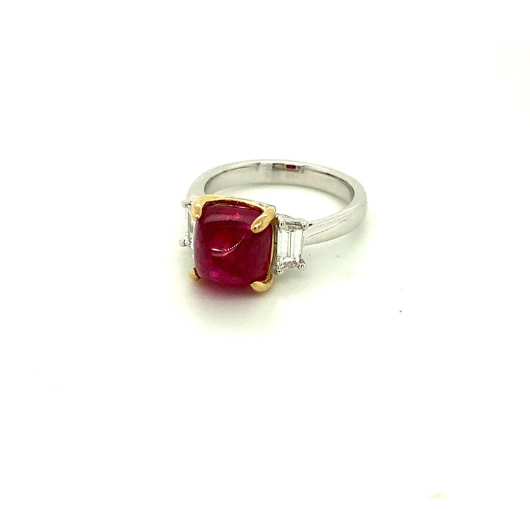 Women's or Men's 5.28 Carat Burmese Red Spinel Sugarloaf and White Diamond Gold Engagement Ring For Sale