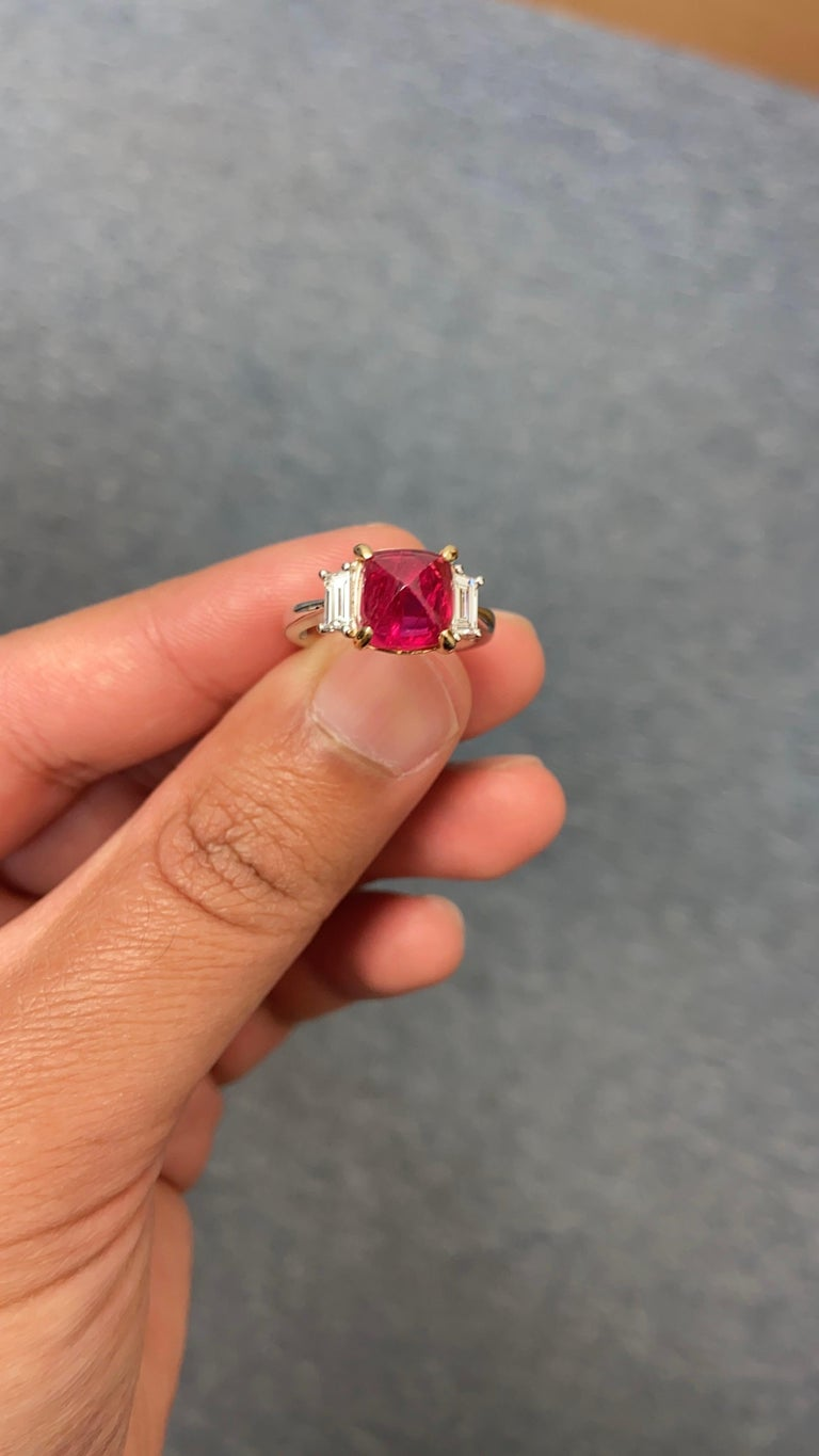 5.28 Carat Burmese Red Spinel Sugarloaf and White Diamond Gold Engagement Ring For Sale 2