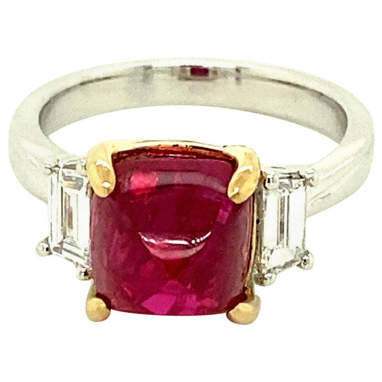 5.28 Carat Burmese Red Spinel Sugarloaf and White Diamond Gold Engagement Ring For Sale