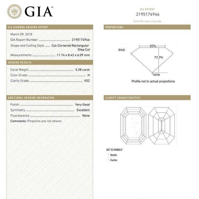Modern 5.28 Carat Emerald Cut Diamond Platinum Engagement Ring H/VS2 GIA