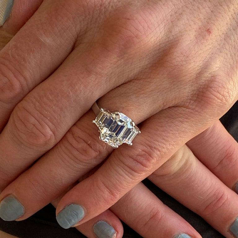 5.28 Carat Emerald Cut Diamond Platinum Engagement Ring H/VS2 GIA In New Condition In Boca Raton, FL