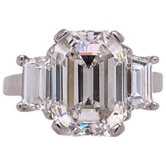 5.28 Carat Emerald Cut Diamond Platinum Engagement Ring H/VS2 GIA