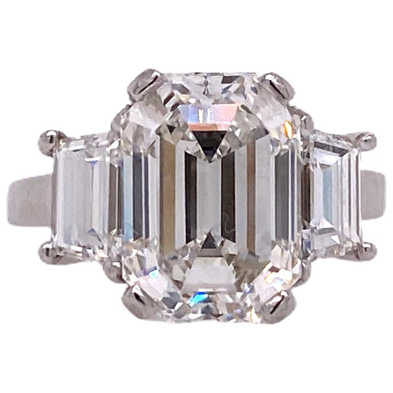 5.28 Carat Emerald Cut Diamond Platinum Engagement Ring H/VS2 GIA