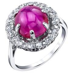 5.28 Carat GIA Certified Unheated Burmese Star Ruby and Diamond Platinum Ring
