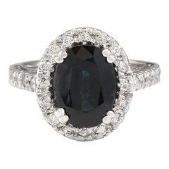 5.28 Carat Natural Sapphire 18 Karat White Gold Diamond Ring