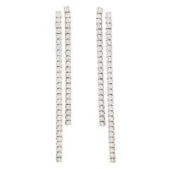 Negligee Diamond Drop Clip Earrings in Platinum 5.28 Carat