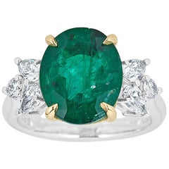 5.28 Carat Oval Cut Emerald and Diamond Cocktail Ring