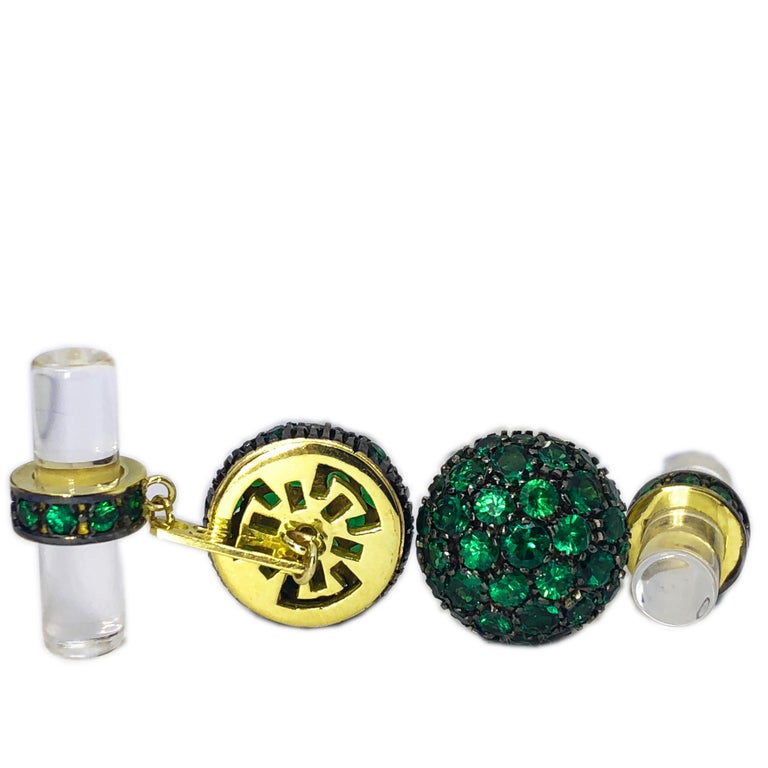Smart Chic and Timeless 5.28 Carat Round Natural Amazing Green Tsavorite Oxidized Black and Yellow 18 Kt Gold Setting, 9 Carat Natural Hand Inlaid Rock Crystal Baton Back. In our fitted black box and pouch.
