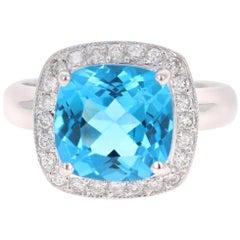 5.29 Carat Blue Topaz Diamond 14 Karat White Gold Cocktail Ring