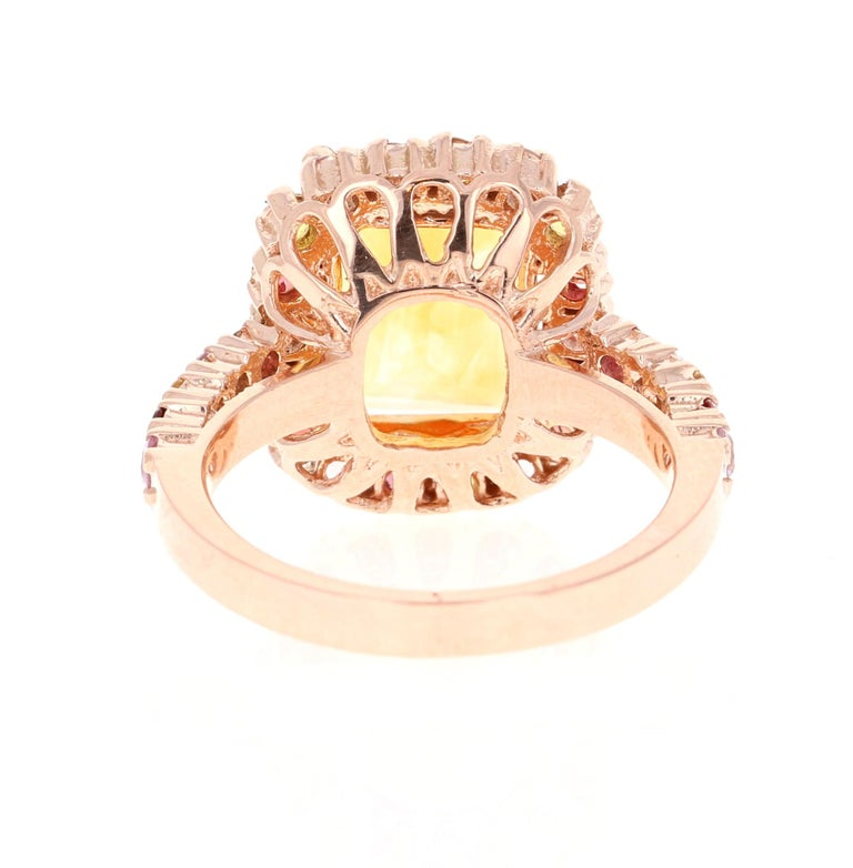 5.29 Carat Emerald Cut Citrine Sapphire 14 Karat Rose Gold Ring In New Condition For Sale In San Dimas, CA
