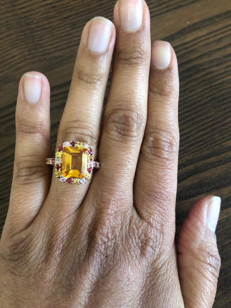 Women's 5.29 Carat Emerald Cut Citrine Sapphire 14 Karat Rose Gold Ring For Sale