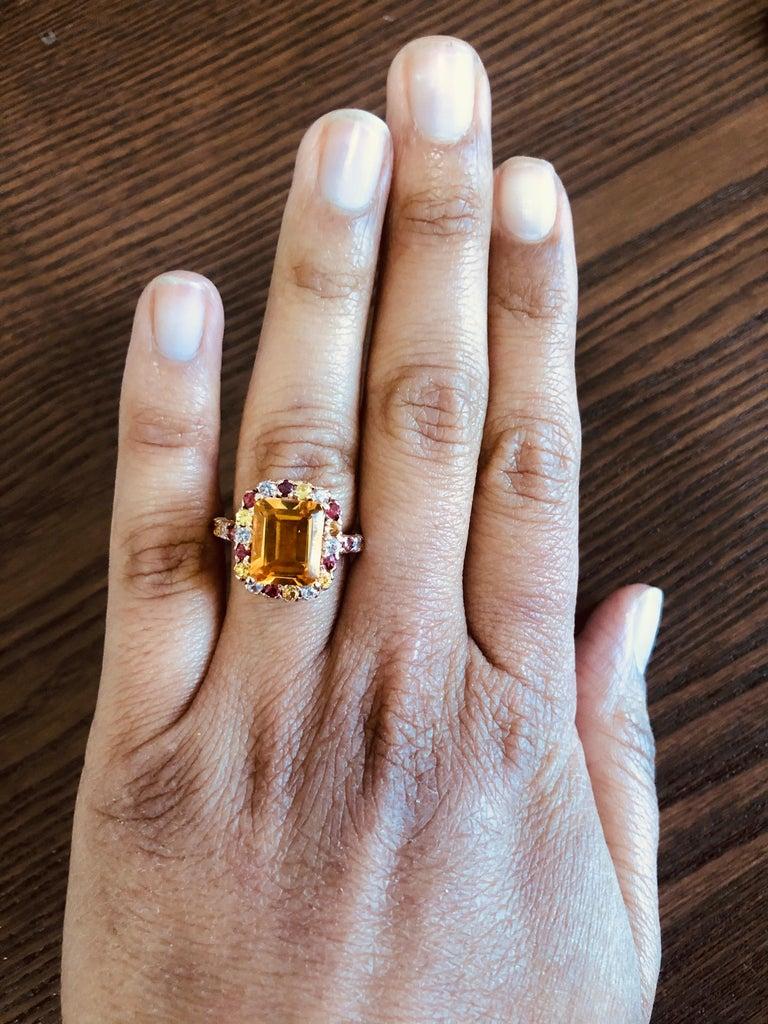 5.29 Carat Emerald Cut Citrine Sapphire 14 Karat Rose Gold Ring For Sale 1