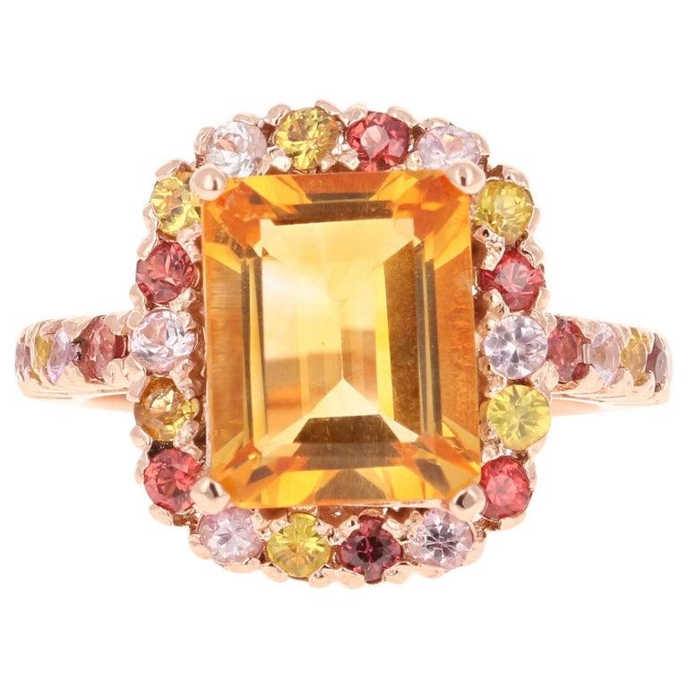 5.29 Carat Emerald Cut Citrine Sapphire 14 Karat Rose Gold Ring For Sale