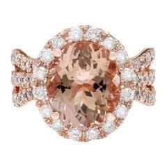 5.29 Carat Natural Morganite 18 Karat Solid Rose Gold Diamond Ring