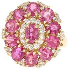 5.29 Carat Ruby Diamond 18 Karat Yellow Gold Cocktail Ring