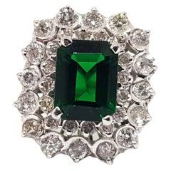 5.29 Carat White Gold Diamond Peridot Ring
