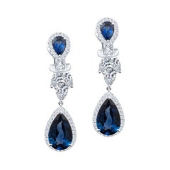 5.29ctw Pear Shape Blue Sapphire and 1.76ctw Diamond Accent Drop Earrings