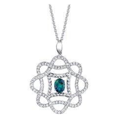 .53 Carat Alexandrite and .48 Carat Diamond 18 Karat White Gold Pendant