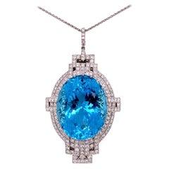 53 Carat Aquamarine and Diamond Art Deco Style Platinum Necklace