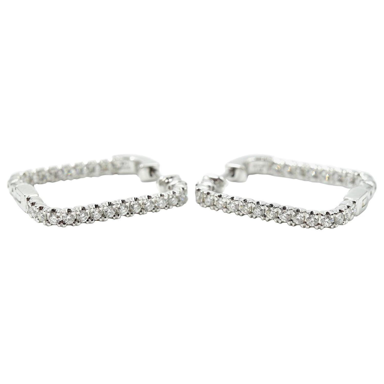 53 Carat Diamond 14 Karat White Gold Square Earring
