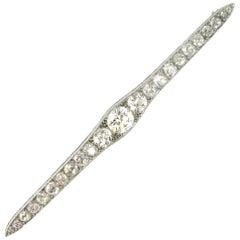 5.3 Carat Diamonds Edwardian White Gold Platinum Bar Brooch